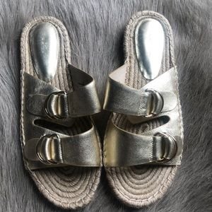 New Joie Gold Espadrille Sandals 37